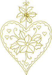 Golden Christmas Heart embroidery design