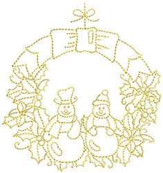 Golden Christmas Wreath embroidery design