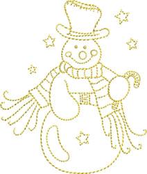 Golden Backstitch Snowman embroidery design