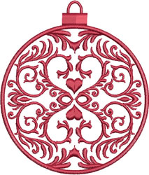 Red Heart Ornament embroidery design