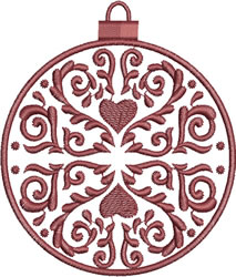 Burgundy Heart Ornament embroidery design