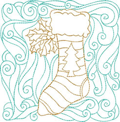 Christmas Stocking Quilt Block embroidery design