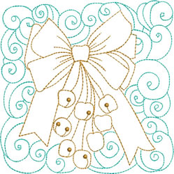 Christmas Jingle Bells Quilt Block embroidery design