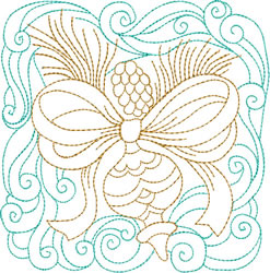 Christmas Pine Cone & Ornament Quilt Block embroidery design