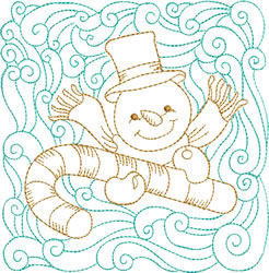 Christmas Snowman & Candy Cane Quilt Block embroidery design