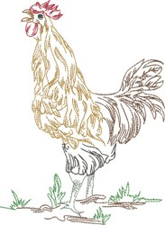 Crowing Rooster embroidery design