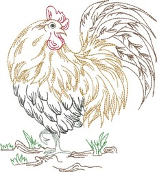 Strutting Rooster embroidery design