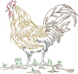 Standing Rooster embroidery design