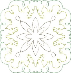 Garden Scroll Single Run Quilt Block embroidery design