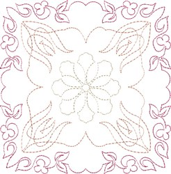 Floral Single Run Quilt Block embroidery design