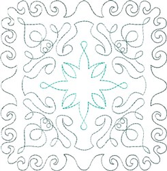 Turquoise Single Run Quilt Block embroidery design
