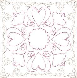 Sweetheart Single Run Quilt Block embroidery design