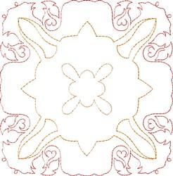 Picot Edged Single Run Quilt Block embroidery design