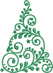 Swirled Christmas Tree embroidery design