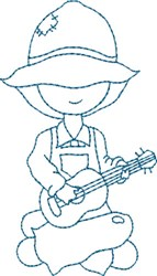 Guitar Playing Sam embroidery design