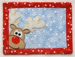 Peeking Reindeer Mug Mat embroidery design