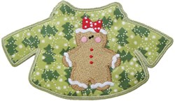 Gingerbread Girl Christmas Sweater Free Standing A embroidery design