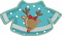 Reindeer Sweater Applique embroidery design