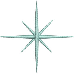 Blue Star Snowflake embroidery design