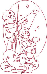 Redwork Nativity Shepards embroidery design