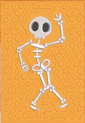 Dancing Skeleton 1 Quilt Block embroidery design