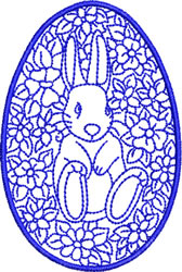 Easter Bunny in Flowers embroidery design
