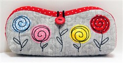 Folded Eyeglass Case with Flowers embroidery design