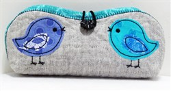 Folded Eyeglass Case with Birds embroidery design