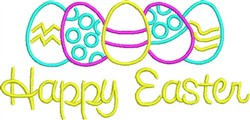 Happy Easter Eggs embroidery design