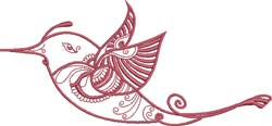Red Exotic Bird embroidery design