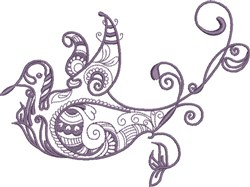 Purple Exotic Bird embroidery design