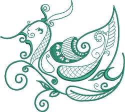 Teal Exotic Bird embroidery design