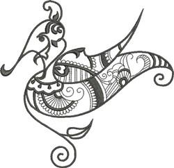 Black Exotic Bird embroidery design