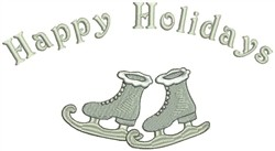 Happy Holidays & Skates embroidery design