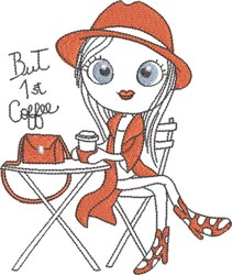 French Café Girl 1 embroidery design