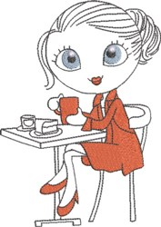 French Café Girl 3 embroidery design