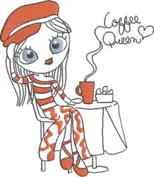 French Café Girl 5 embroidery design