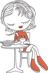 French Café Girl 7 embroidery design