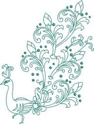 Large Peacock - Mardi Gra Tail embroidery design