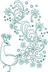 Large Peacock - Fantasy Tail embroidery design