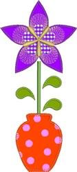 Star Flower Raw Edge Applique embroidery design
