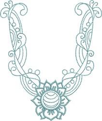 Sunflower Neckline embroidery design