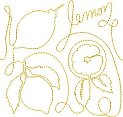Free Motion Lemon embroidery design