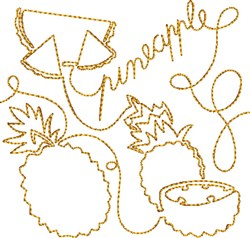 Free Motion Pineapple embroidery design