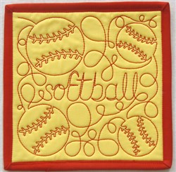 Free Motion Softball Mug Mat embroidery design