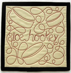 Free Motion Ice Hockey Mug Mat embroidery design