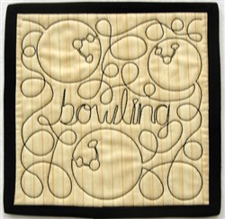 Free Motion Bowling Mug Mat embroidery design