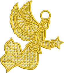 Lace Angel With Stars embroidery design