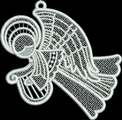 FSL Small Angel with Harp embroidery design