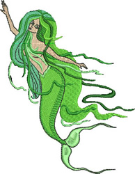 Graceful Mermaid embroidery design